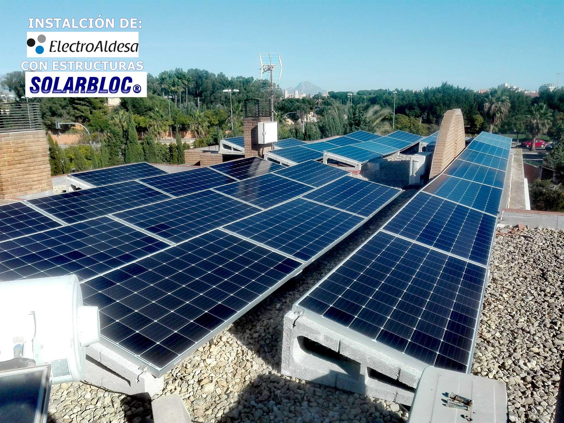 Soporte hormigón panel solar ElectroAldesa AOLARBLOC